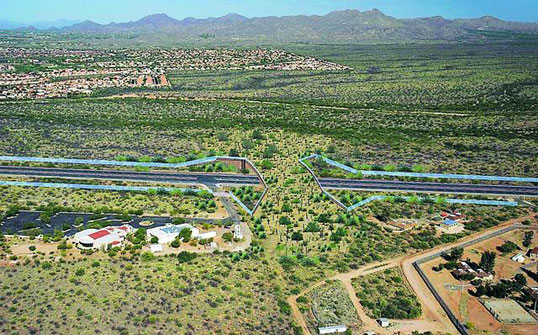 Mockup of proposed wildlife overpass, courtesy of Coalition for Sonoran Desert Protection